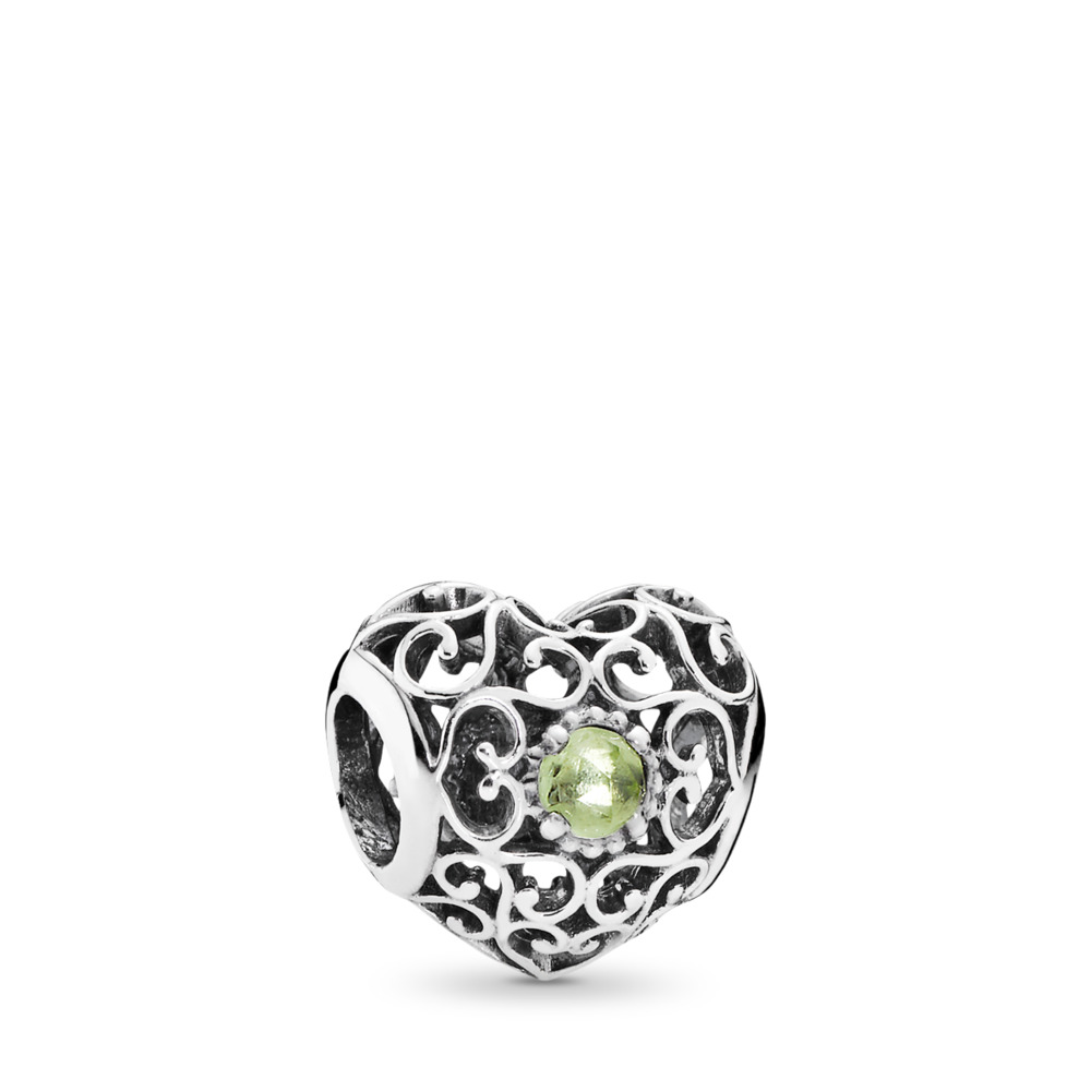 August Signature Heart, Peridot, Sterling silver, Green, Peridot - PANDORA - #791784PE