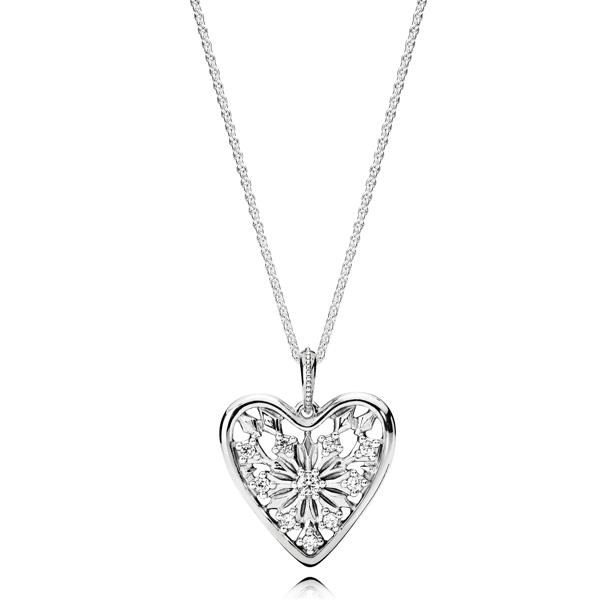 Heart of Winter Pendant with Chain, Clear CZ