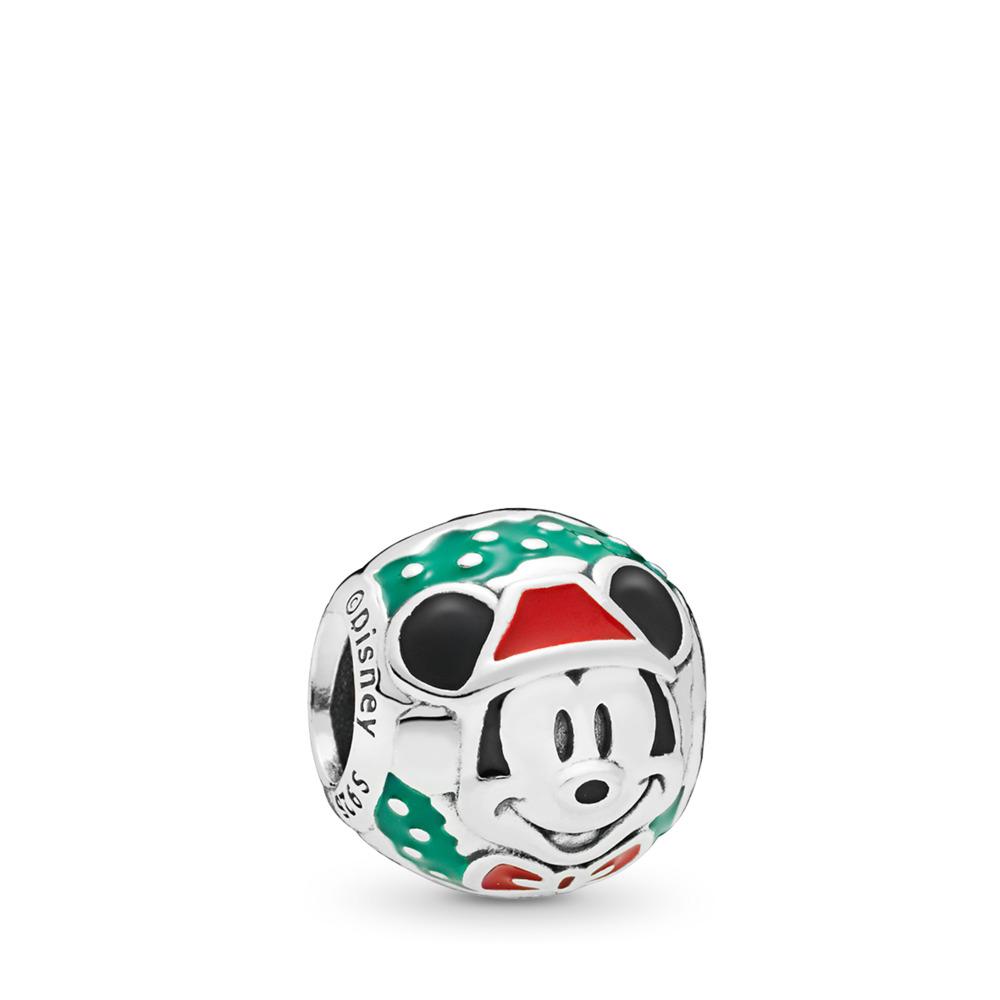 Disney, Santa Mickey Charm, Sterling silver, Enamel, Black - PANDORA - #797502ENMX