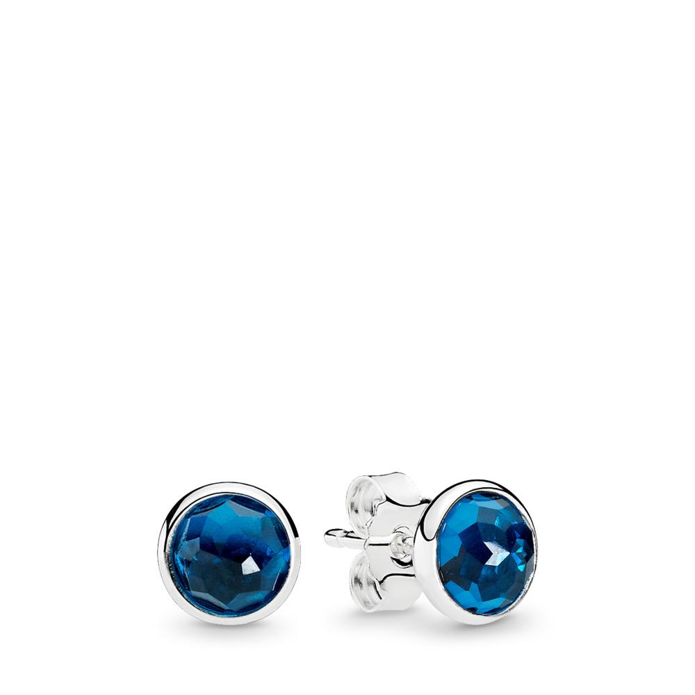 Gouttelettes de décembre, cristal bleu de Londres, Argent sterling, Aucun autre matériel, Bleu, Cristal - PANDORA - #290738NLB