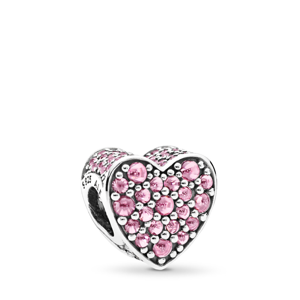 Pink Dazzling Heart, Pink CZ, Sterling silver, Pink, Cubic Zirconia - PANDORA - #792069PCZ