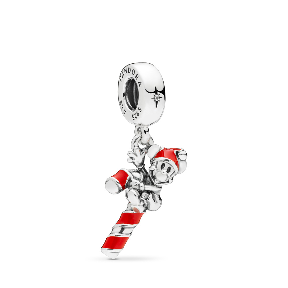 Disney, Santa Mickey's Candy Cane Dangle Charm, Sterling silver, Enamel, Red, Cubic Zirconia - PANDORA - #797500EN09