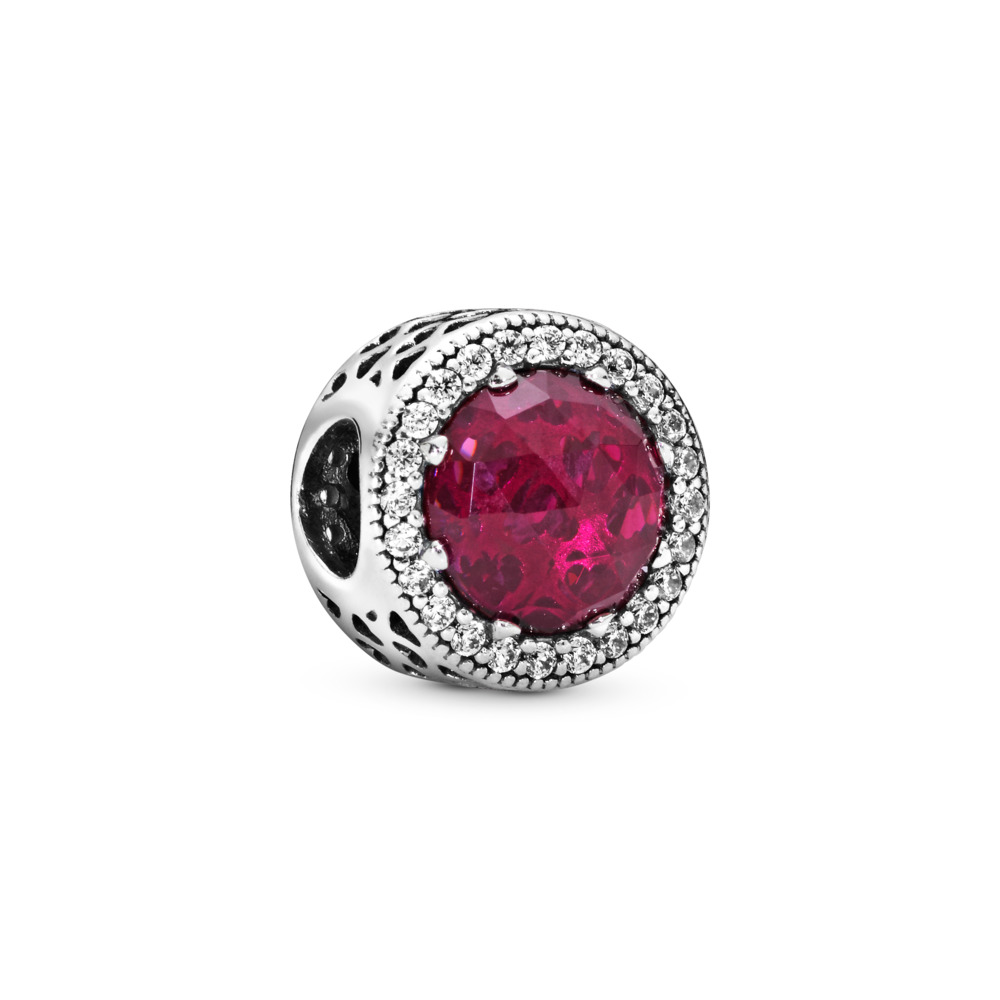 Radiant Hearts, Cerise Crystal & Clear CZ, Sterling silver, Pink, Mixed stones - PANDORA - #791725NCC