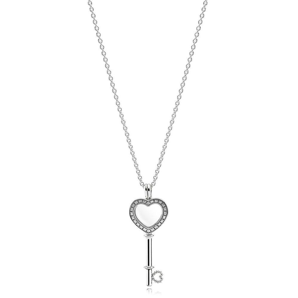 Loquet flottant clé en cœur, cristal de saphir et cz incolore