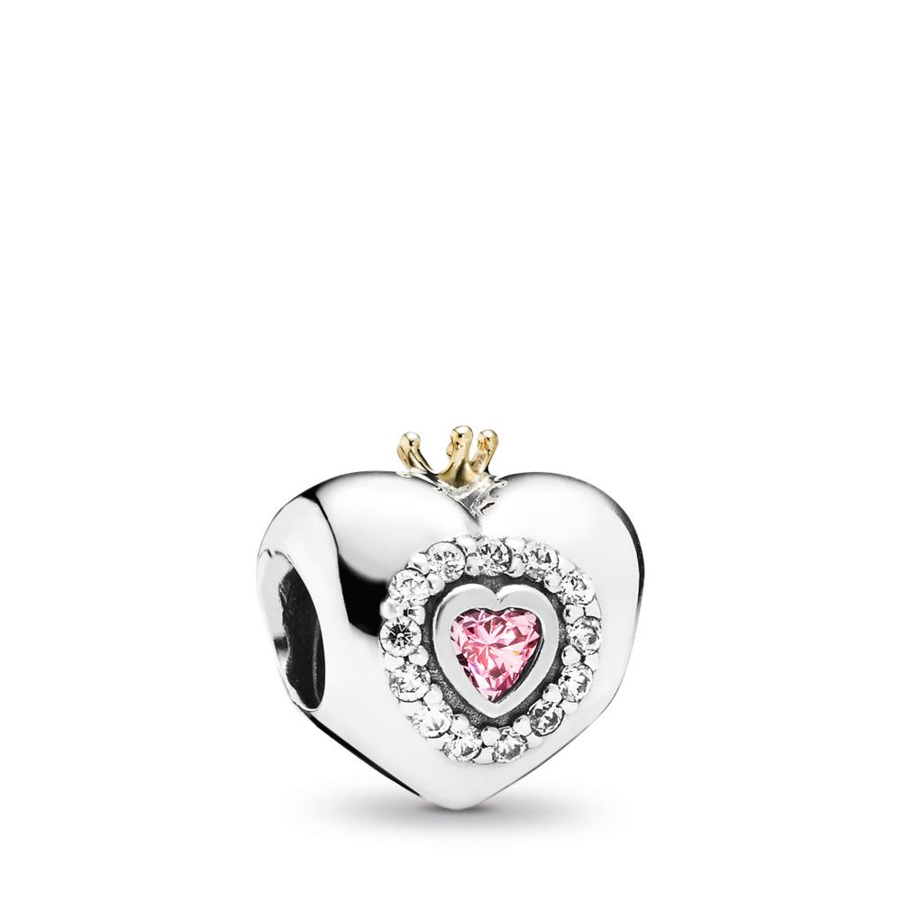 Cœur de princesse, cz rose poudré, Deux Tons, Aucun autre matériel, Rose, Zircon cubique - PANDORA - #791375PCZ