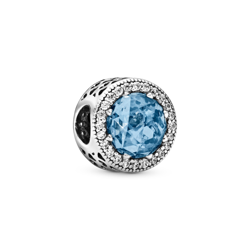 Radiant Hearts, Sky-Blue Crystal & Clear CZ, Sterling silver, Blue, Mixed stones - PANDORA - #791725NBS