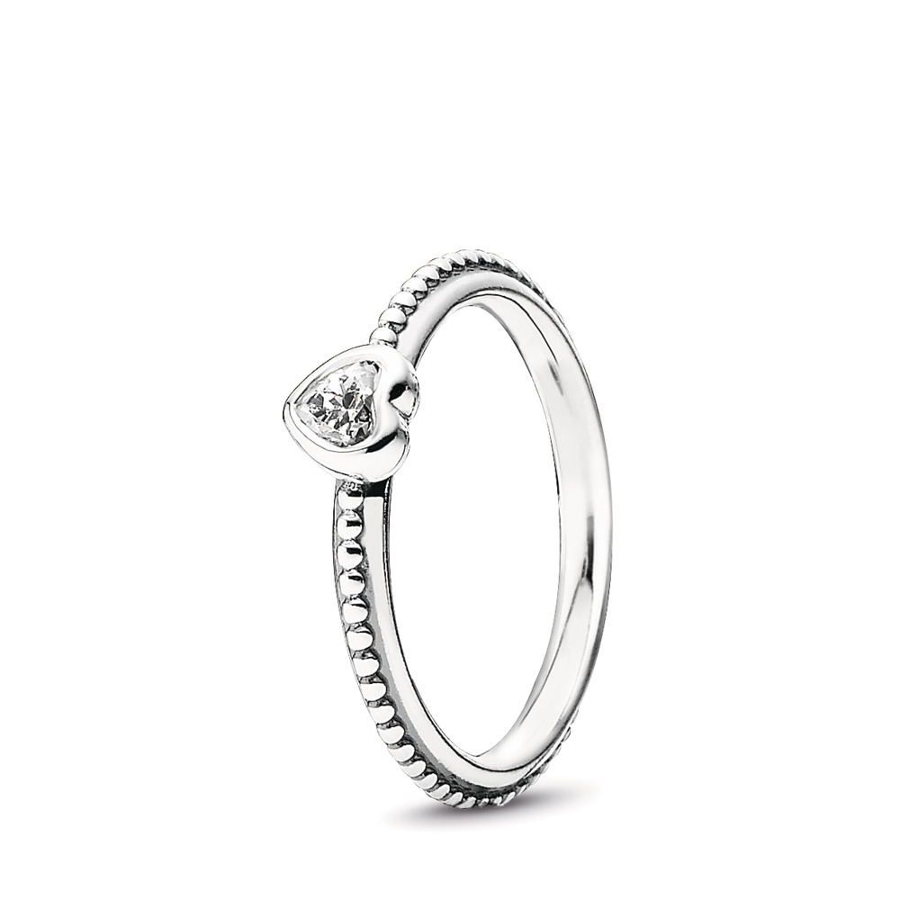One Love Stackable Ring, Clear CZ, Sterling silver, Cubic Zirconia - PANDORA - #190896CZ