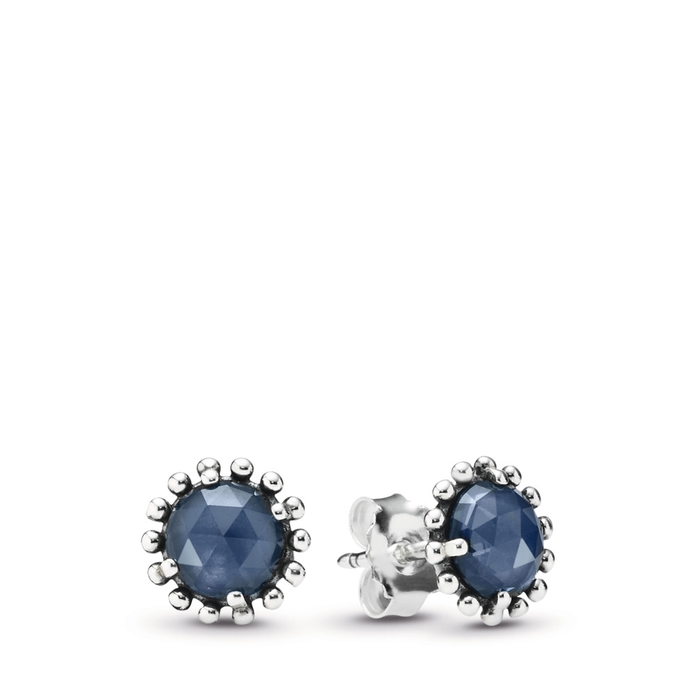 Midnight Star Stud Earrings, Midnight Blue Crystal, Sterling silver, Blue, Crystal - PANDORA - #290561NBC