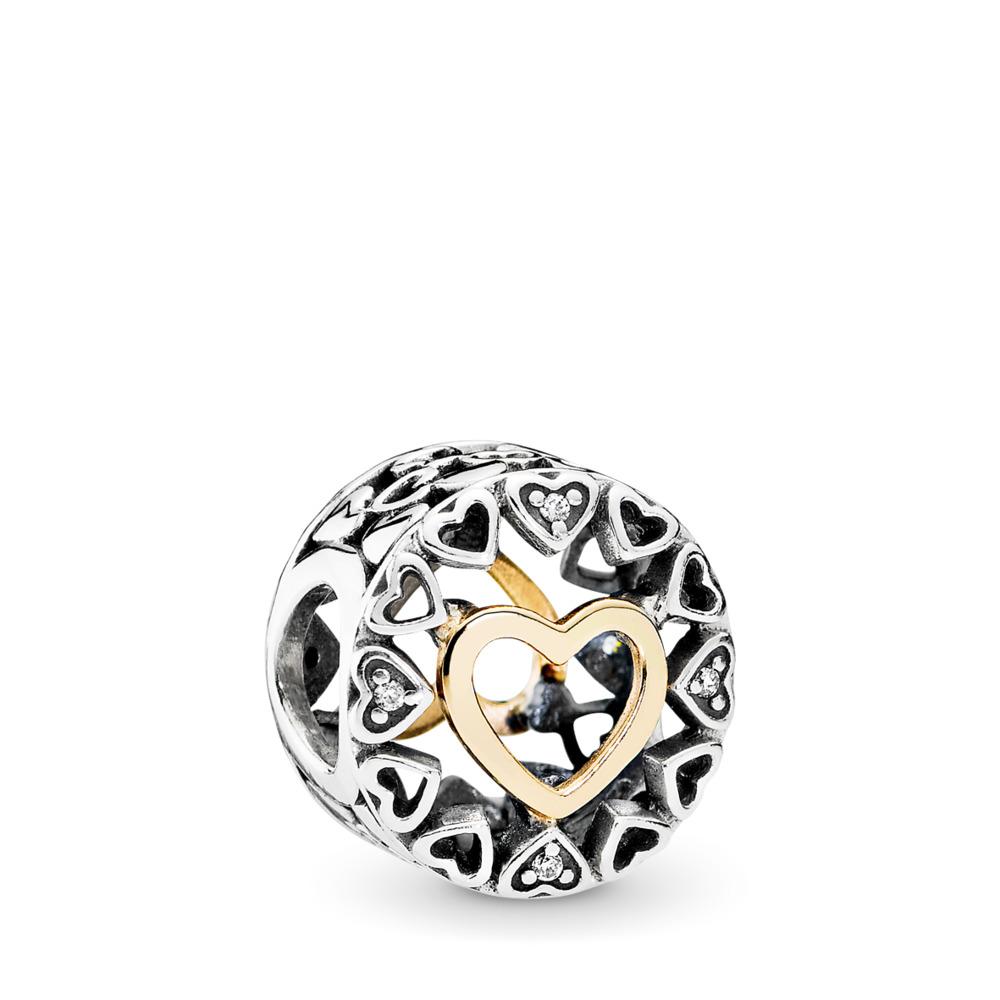 Cercle d'amour, CZ incolore, Deux Tons, Aucun autre matériel, Aucune couleur, Zircon cubique - PANDORA - #792009CZ