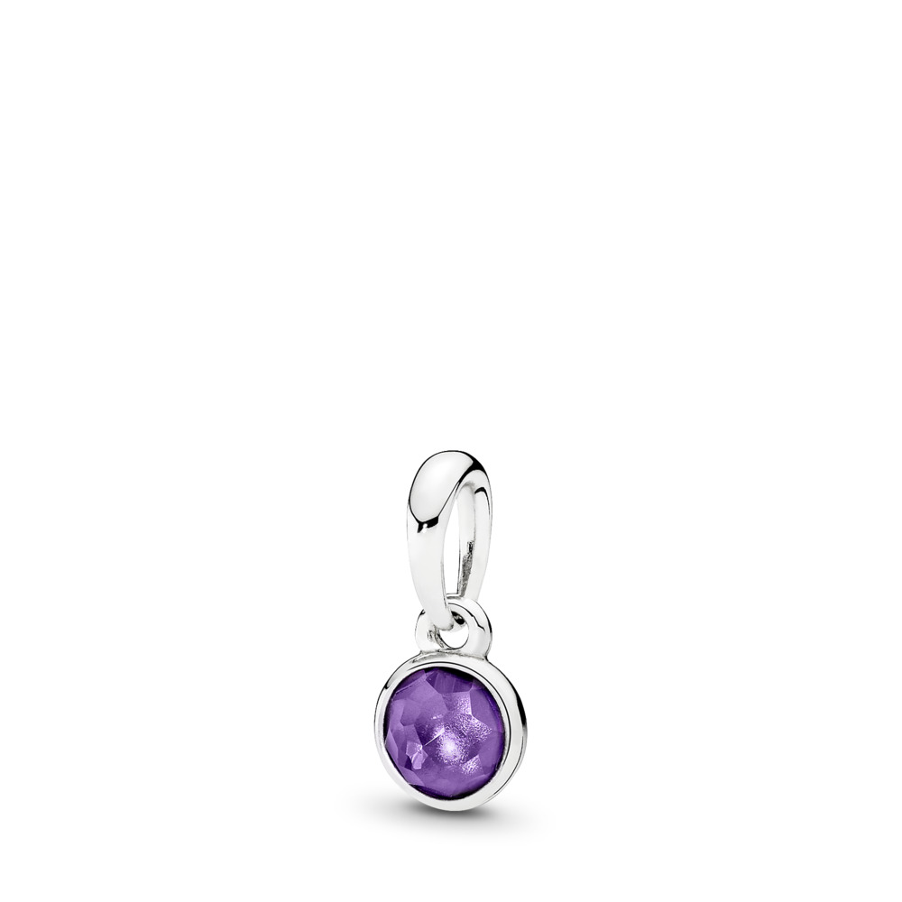 February Droplet, Synthetic Amethyst, Sterling silver, Purple, Synthetic Amethyst - PANDORA - #390396SAM