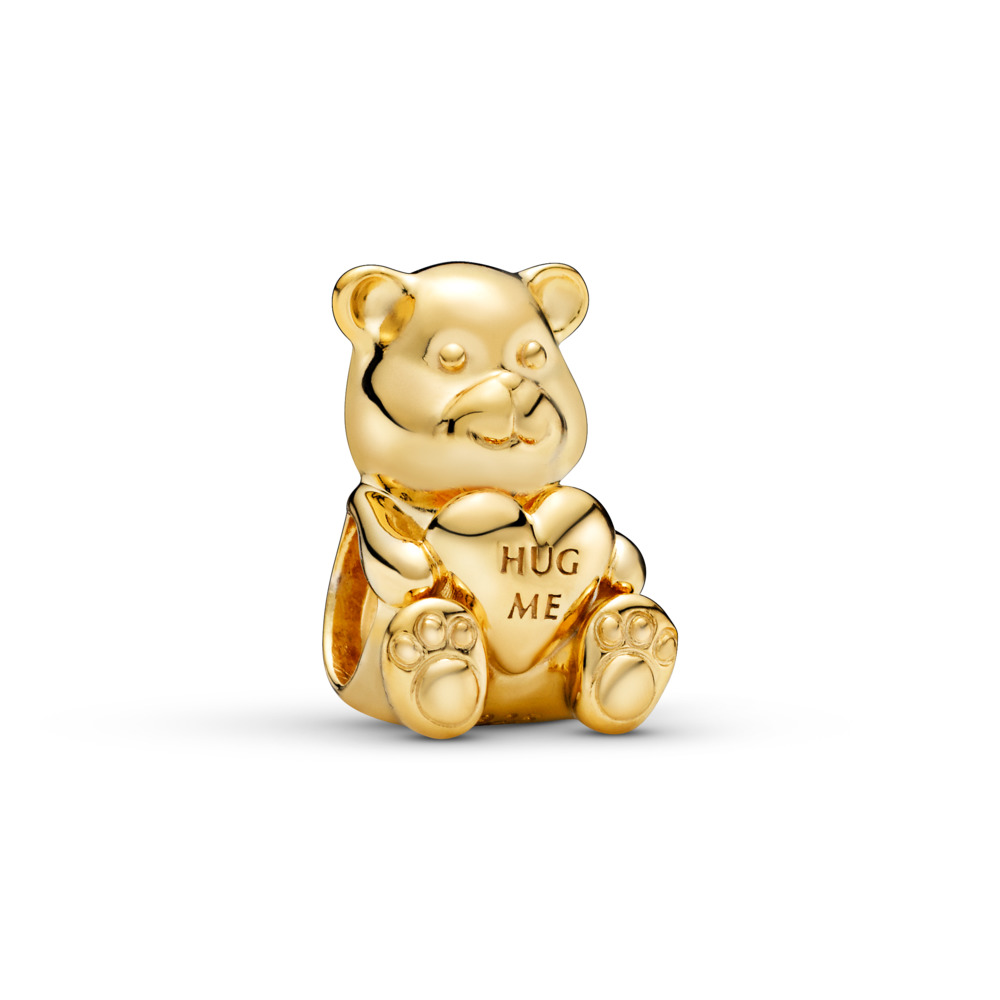 Theodore Bear Charm, PANDORA Shine™, 18ct gold-plated sterling silver - PANDORA - #767236