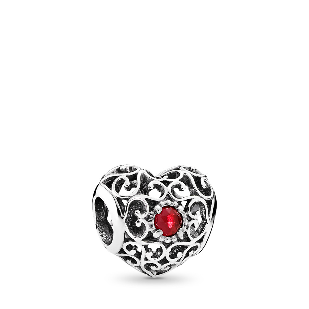July Signature Heart, Synthetic Ruby, Sterling silver, Red, Synthetic Ruby - PANDORA - #791784SRU