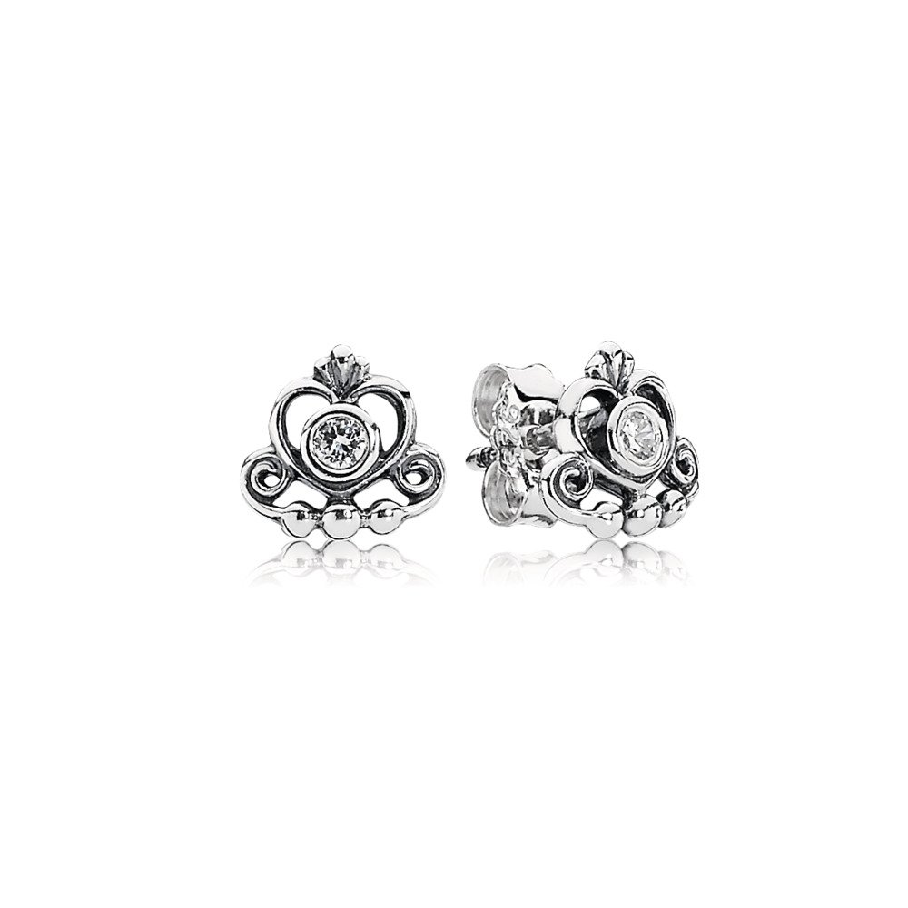 My Princess Tiara Stud Earrings, Clear CZ