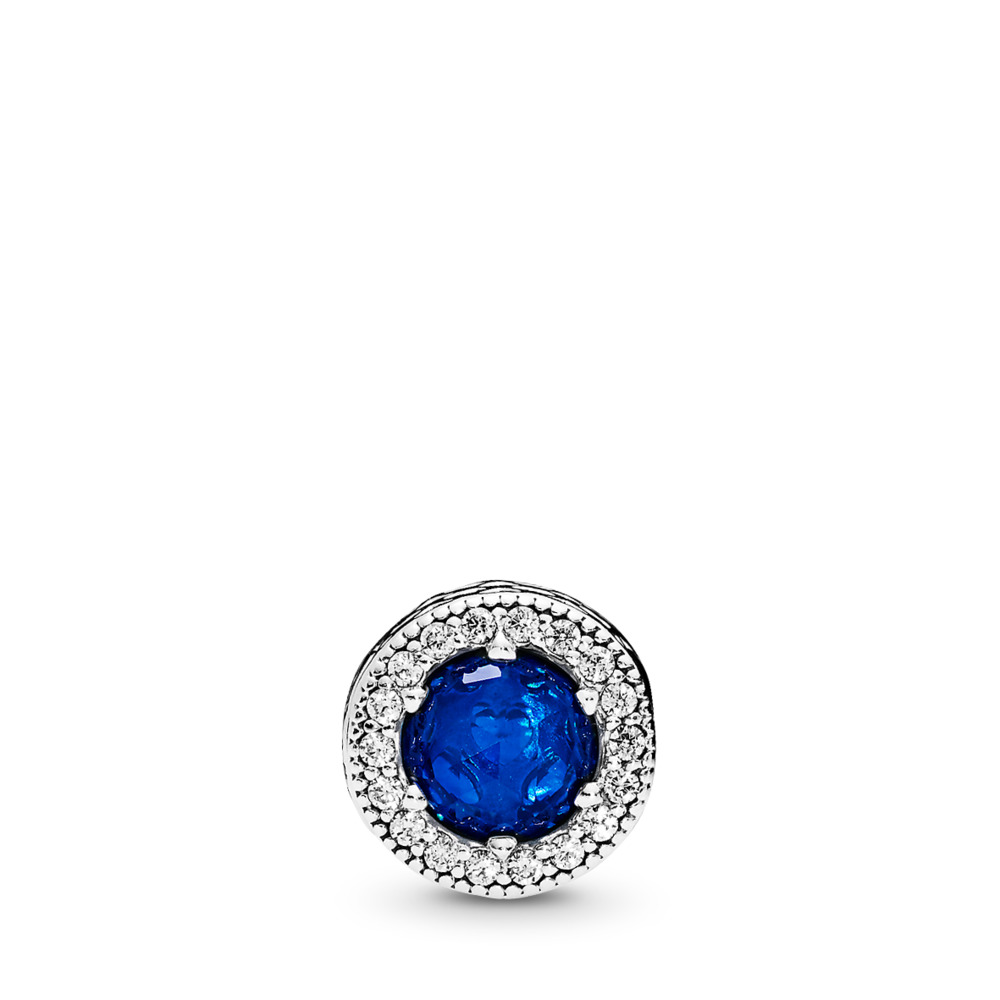 PEACE Charm, Royal Blue Crystals & Clear CZ, Sterling silver, Silicone, Blue, Mixed stones - PANDORA - #796439NCB