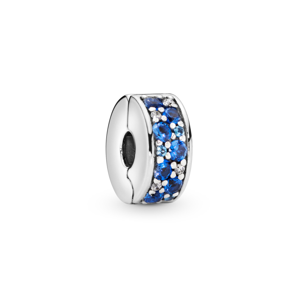 Mosaic Shining Elegance, Multi-Colored Crystals & Clear CZ, Sterling silver, Silicone, Blue, Mixed stones - PANDORA - #791817NSBMX