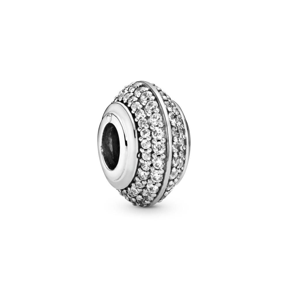 Clear Sparkling Pavé Charm, Sterling silver, Cubic Zirconia - PANDORA - #798066CZ