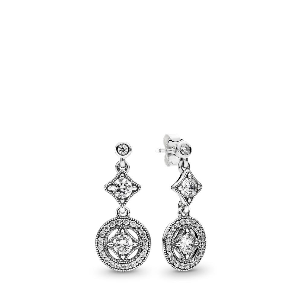 Vintage Allure, Clear CZ, Sterling silver, Cubic Zirconia - PANDORA - #290722CZ