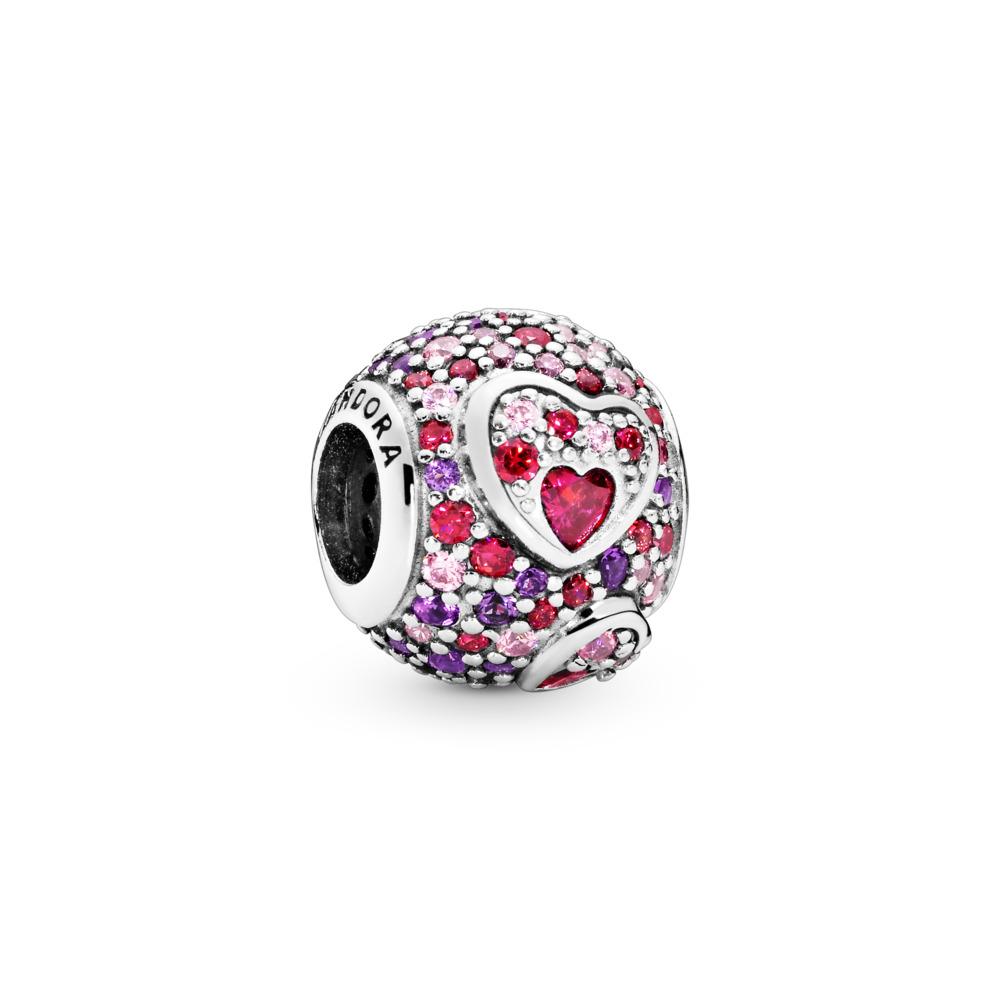 Asymmetric Hearts of Love Charm, Sterling silver, Mixed stones - PANDORA - #797826CZRMX