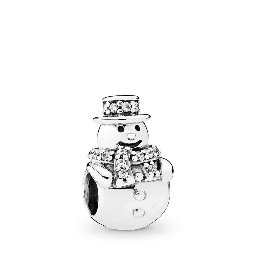 Snowman, Clear CZ, Sterling silver, Cubic Zirconia - PANDORA - #792001CZ