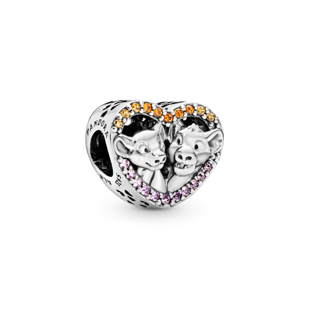 Disney, Sparkling Simba & Nala Heart Charm, Sterling silver, Orange, Mixed stones - PANDORA - #798044NPRMX