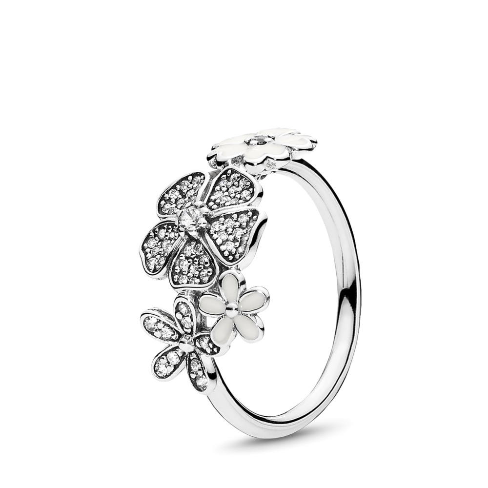 Chemin de fleurs brillantes, émail blanc et cz incolore, Argent sterling, émail, Blanc, Zircon cubique - PANDORA - #190984CZ
