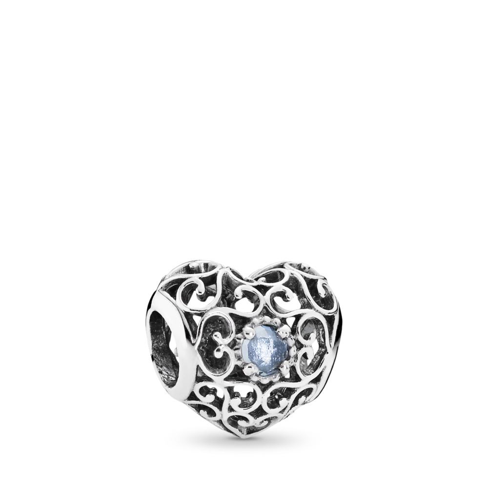 March Signature Heart, Aqua Blue Crystals, Sterling silver, Blue, Crystal - PANDORA - #791784NAB