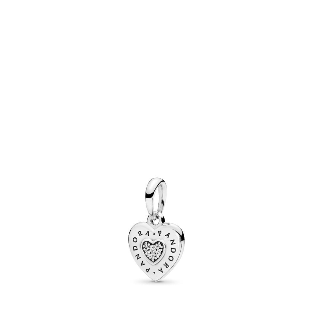 PANDORA Signature Heart Pendant, Clear CZ, Sterling silver, Cubic Zirconia - PANDORA - #397376CZ