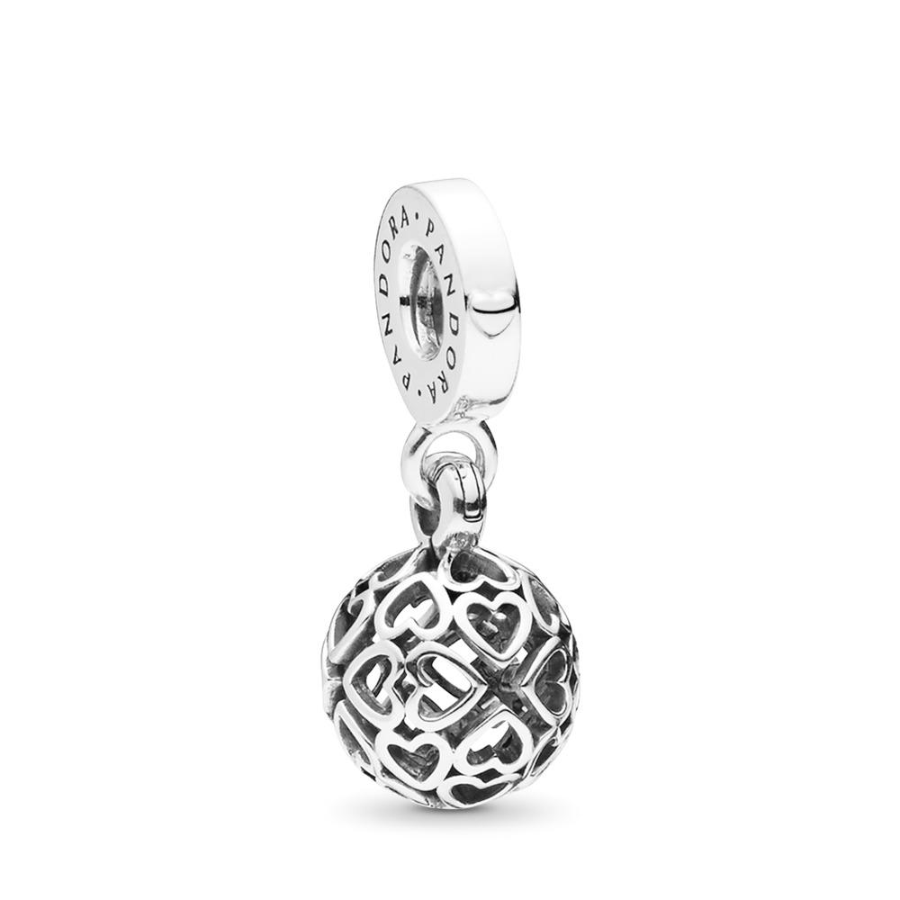 Harmonious Hearts Dangle Charm, Sterling silver - PANDORA - #797255