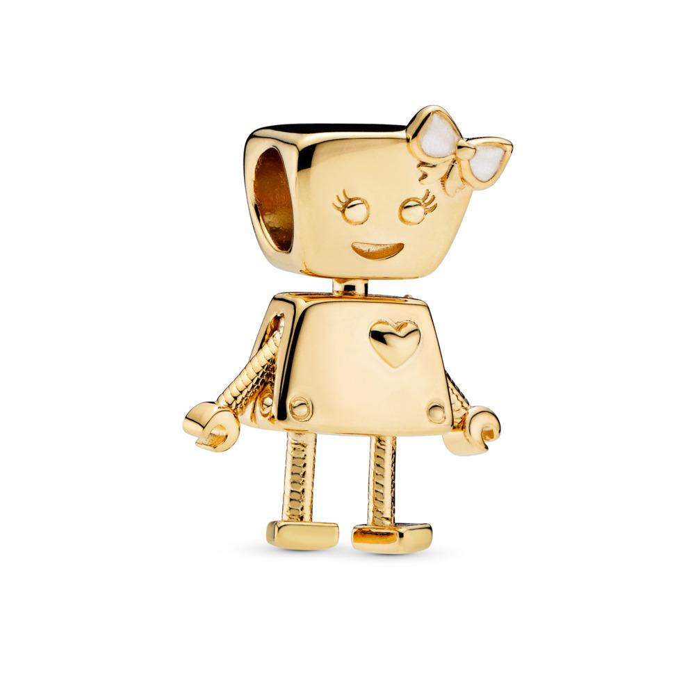 Bella Bot Charm, PANDORA Shine™, 18ct gold-plated sterling silver, Enamel, Silver - PANDORA - #767141EN23