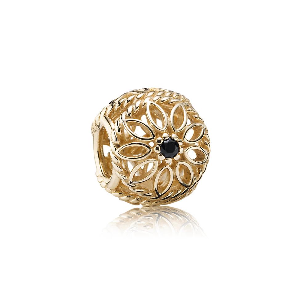 Delicate Beauty, Black Spinel & 14K Gold, Yellow Gold 14 k, Black, Black spinel - PANDORA - #750821SPB