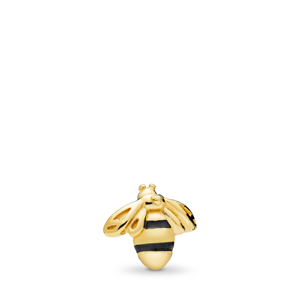 Queen Bee Petite Charm, PANDORA Shine™ & Black Enamel, 18ct gold-plated sterling silver, Enamel, Black - PANDORA - #767049EN16