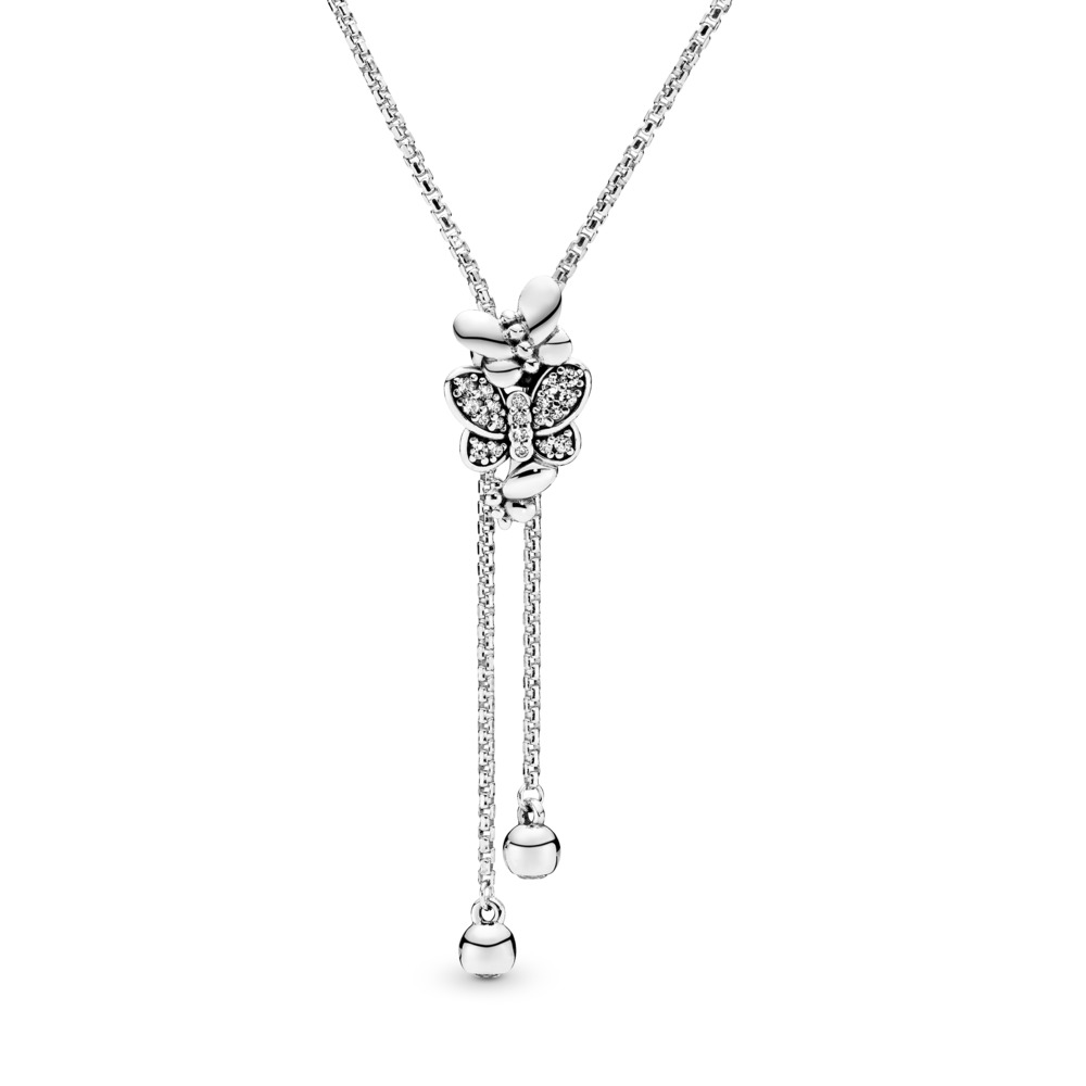Limited Edition Dazzling & Dancing Butterflies Necklace, Sterling silver, Silicone, Cubic Zirconia - PANDORA - #397911CZ