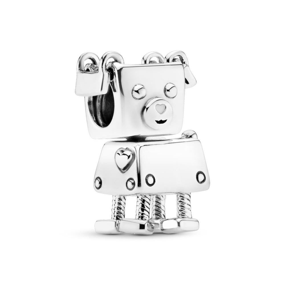 Charm Bobby Bot, Argent sterling, émail, Blanc, Aucune pierre - PANDORA - #797551EN12