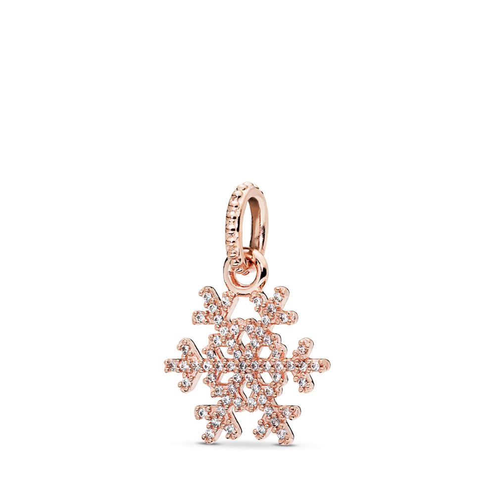 Sparkling Snowflake Pendant, PANDORA Rose™ & Clear CZ, PANDORA Rose, Cubic Zirconia - PANDORA - #380354CZ