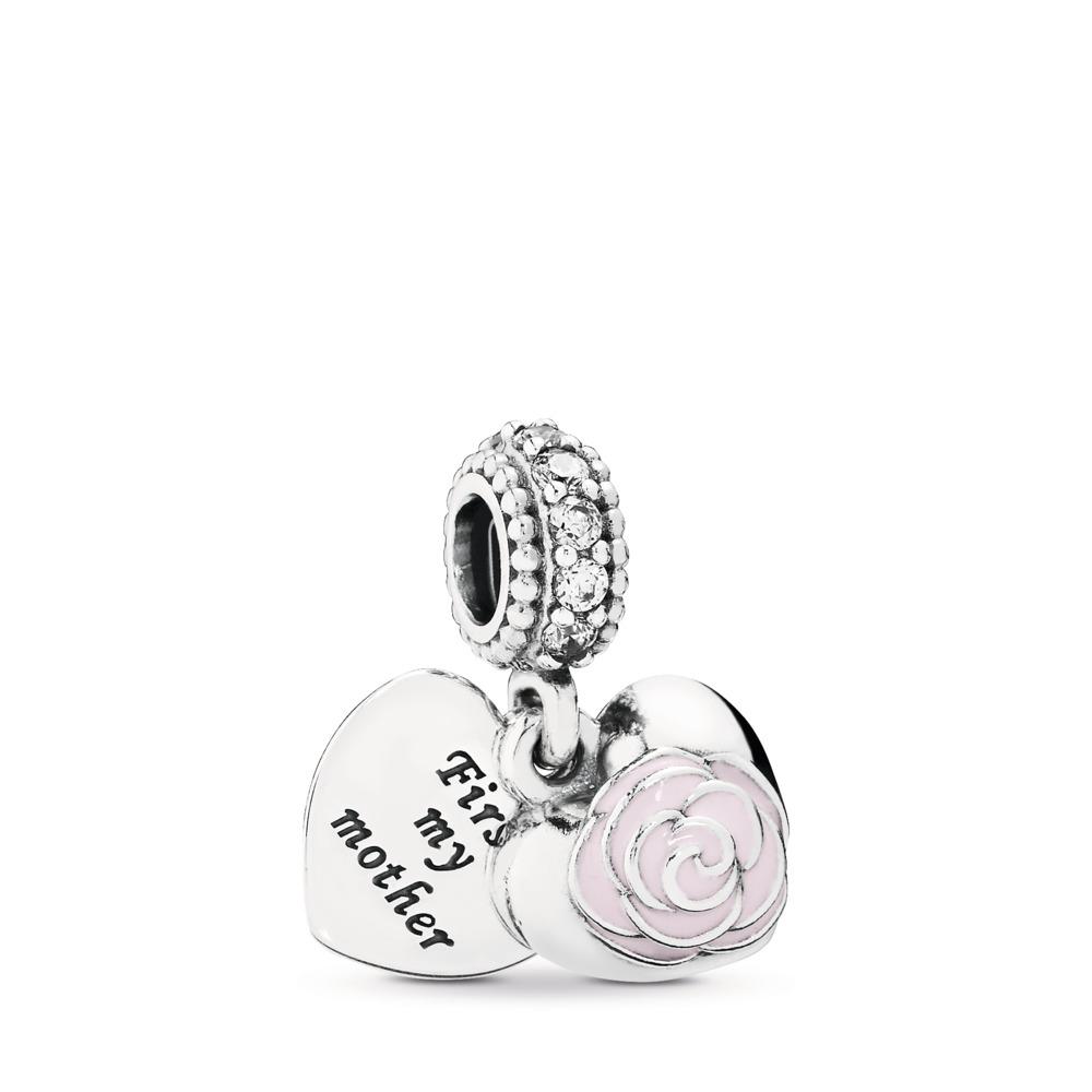 Mother's Rose, Pink Enamel & CLear CZ, Sterling silver, Enamel, Pink, Cubic Zirconia - PANDORA - #791528EN40