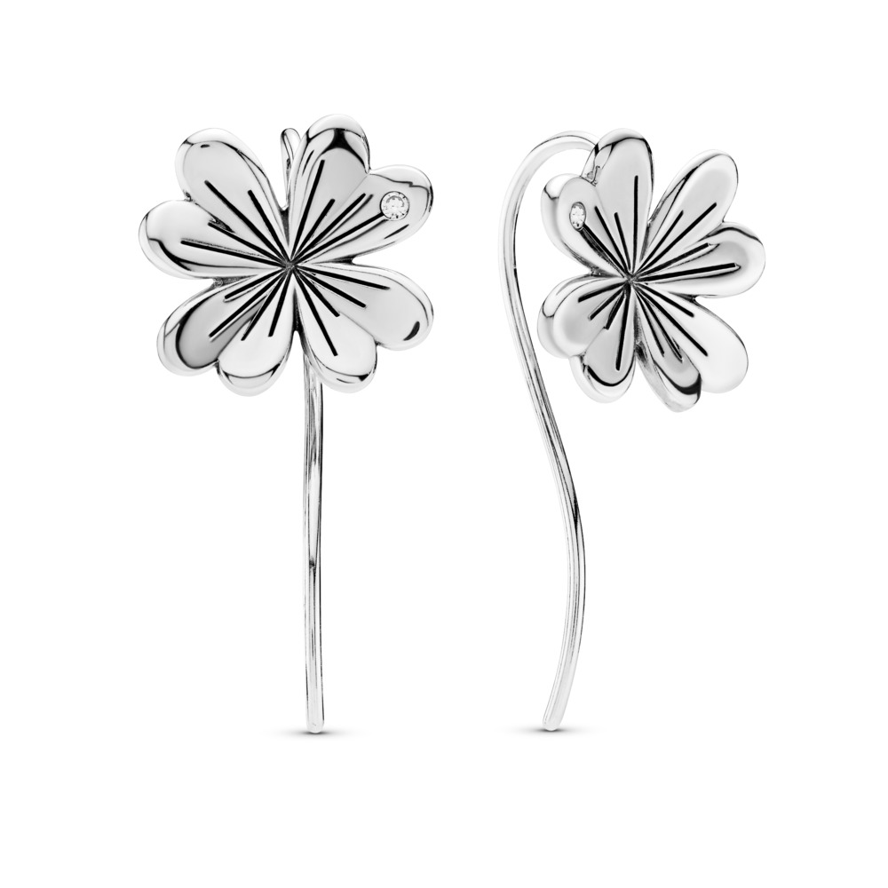 Limited Edition Lucky Four-Leaf Clovers Earrings, Sterling silver, Cubic Zirconia - PANDORA - #297908CZ