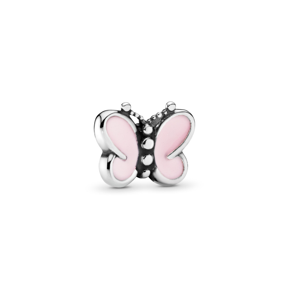 Mini charm Papillon rose, Argent sterling, émail, Aucune couleur, Aucune pierre - PANDORA - #797854EN160