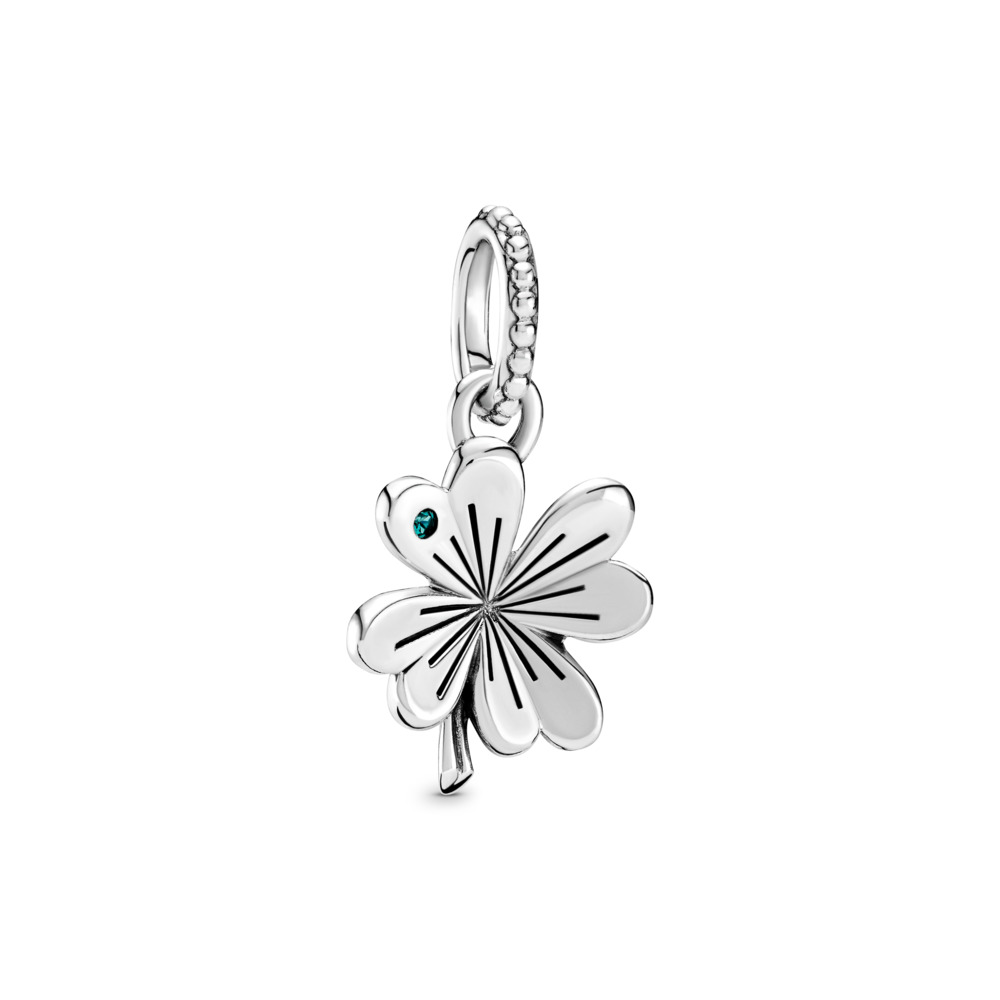 Lucky Four-Leaf Clover Pendant, Sterling silver, Crystal - PANDORA - #397965NAG