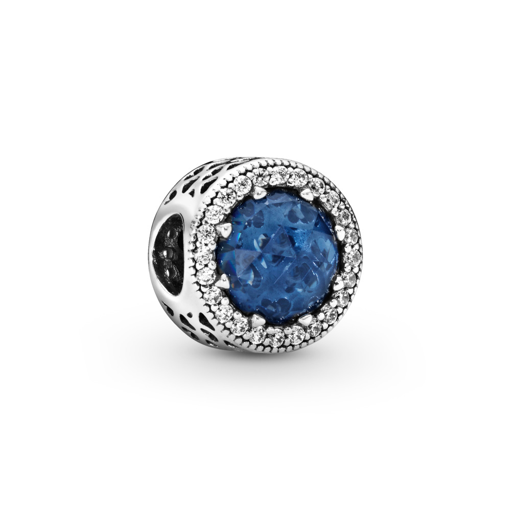 Radiant Hearts, Moonlight Blue Crystal & Clear CZ, Sterling silver, Blue, Mixed stones - PANDORA - #791725NMB