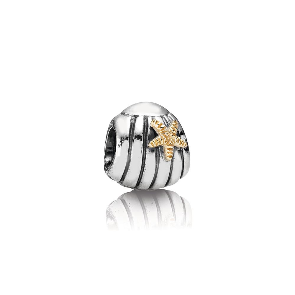 Charm de coquillage en argent avec étoile de mer en or 14 carats, Deux Tons, Aucun autre matériel, Aucune couleur, Aucune pierre - PANDORA - #790249