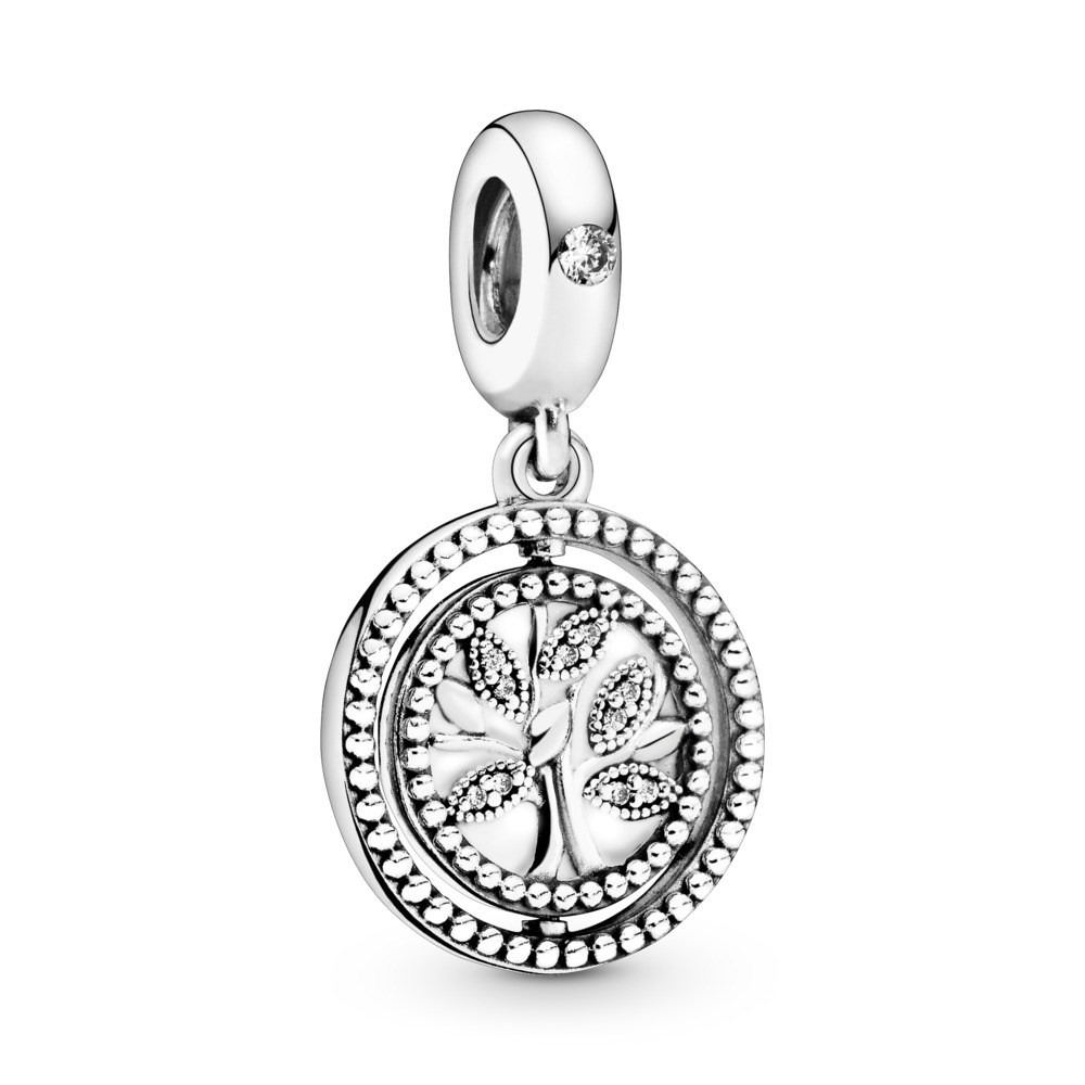 Spinning Pandora Tree Of Life Dangle Charm Sterling Silver Enamel Clear Cubic