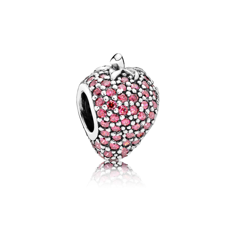 Pavé Strawberry, Red CZ, Sterling silver, Red, Cubic Zirconia - PANDORA - #791899CZR