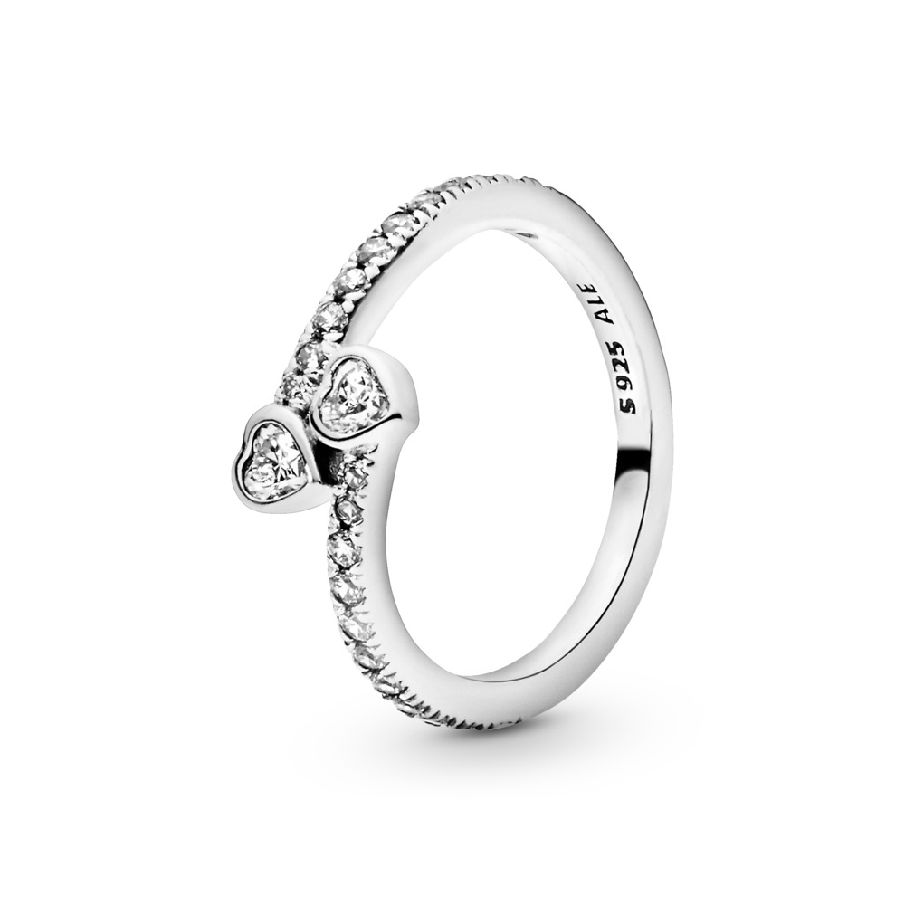 Forever Hearts Ring, Clear CZ, Sterling silver, Cubic Zirconia - PANDORA - #191023CZ