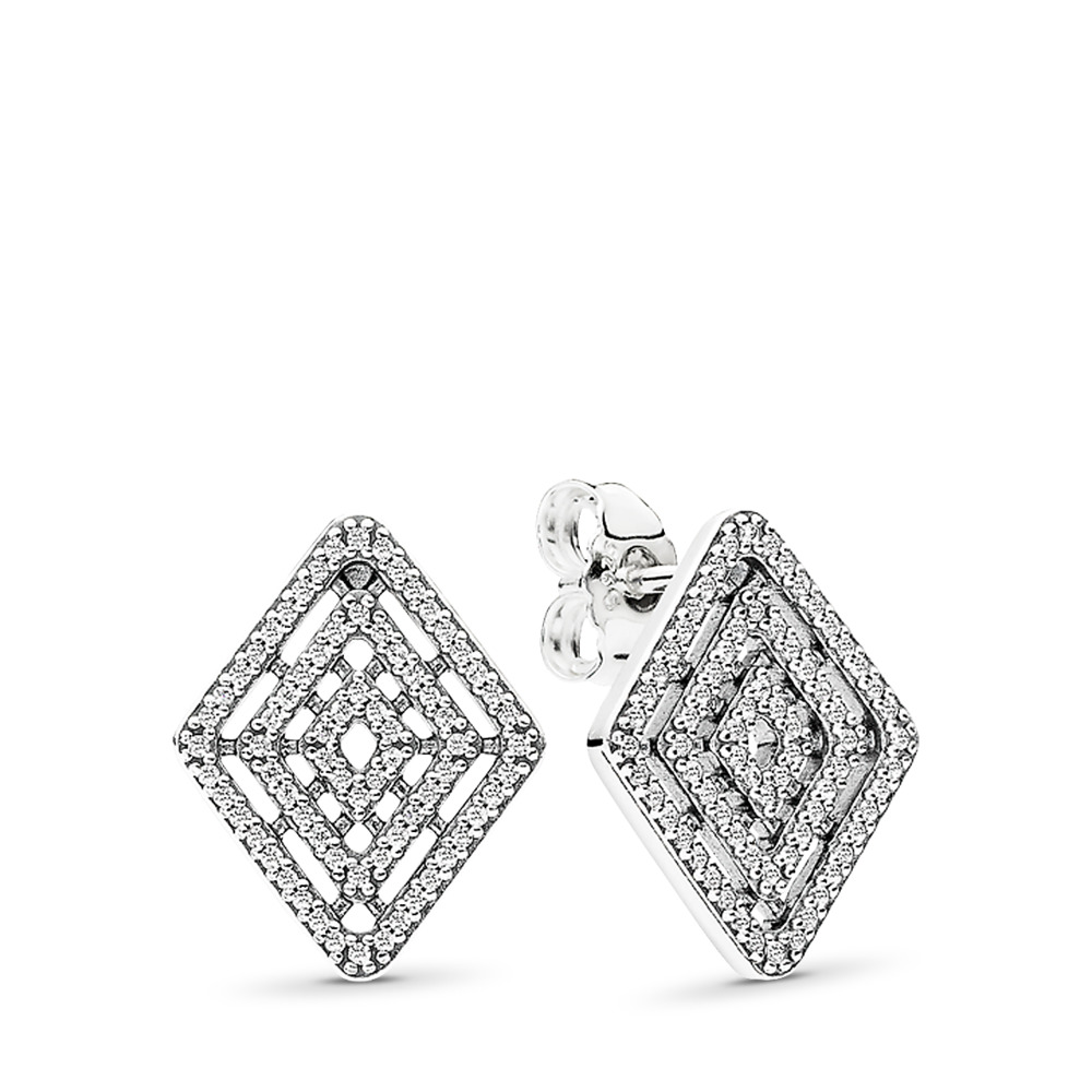 Geometric Lines, Clear CZ, Sterling silver, Cubic Zirconia - PANDORA - #296208CZ