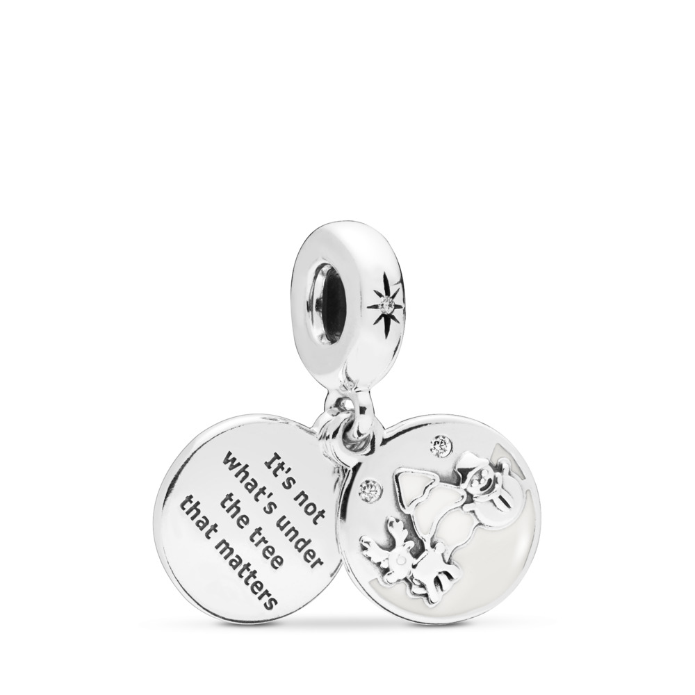 Perfect Christmas Dangle Charm, Sterling silver, Enamel, White, Cubic Zirconia - PANDORA - #797562EN12