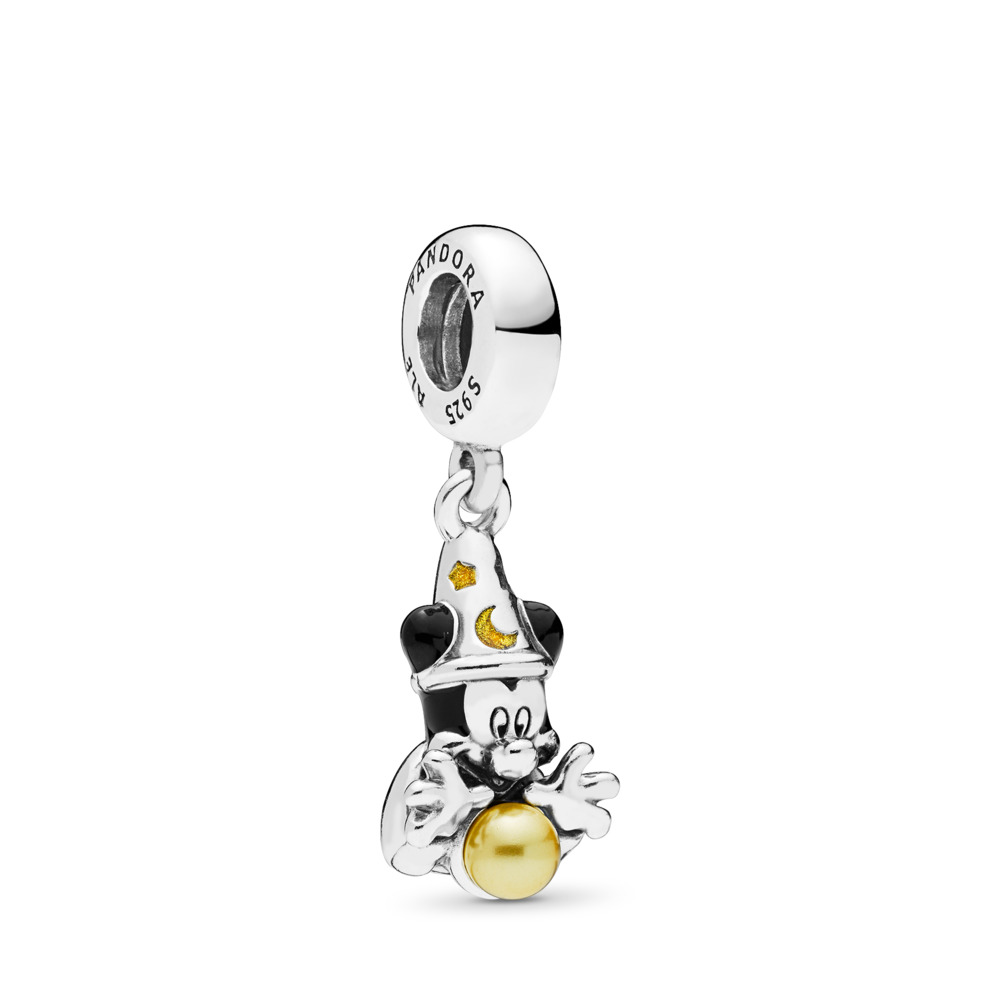 Disney, Sorcerer Mickey Dangle Charm, Sterling silver, Enamel, Black, 68 - PANDORA - #797493ENMX