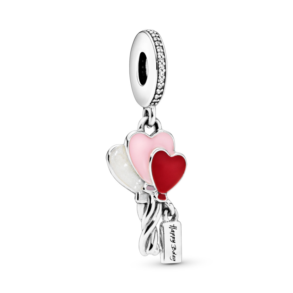 Heart Balloons Birthday Dangle Charm, Sterling silver, Enamel, Pink, Cubic Zirconia - PANDORA - #798076CZ