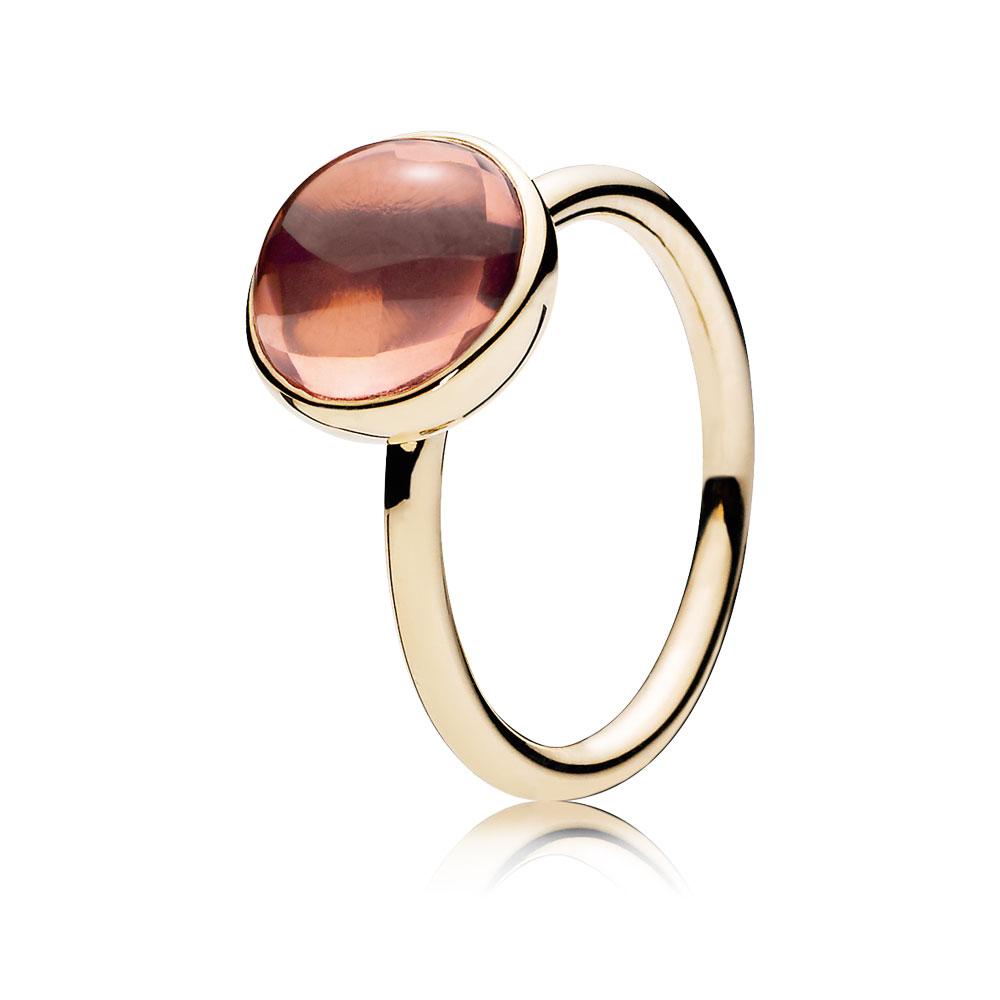 Poetic Droplet, 14K Gold & Blush Pink Crystal