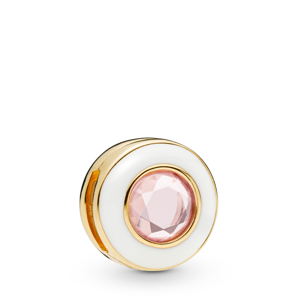 Pandora Reflexions™ Gleaming White Circle Charm, 18ct gold-plated sterling silver, Enamel, Pink, Crystal - PANDORA - #767891NPO