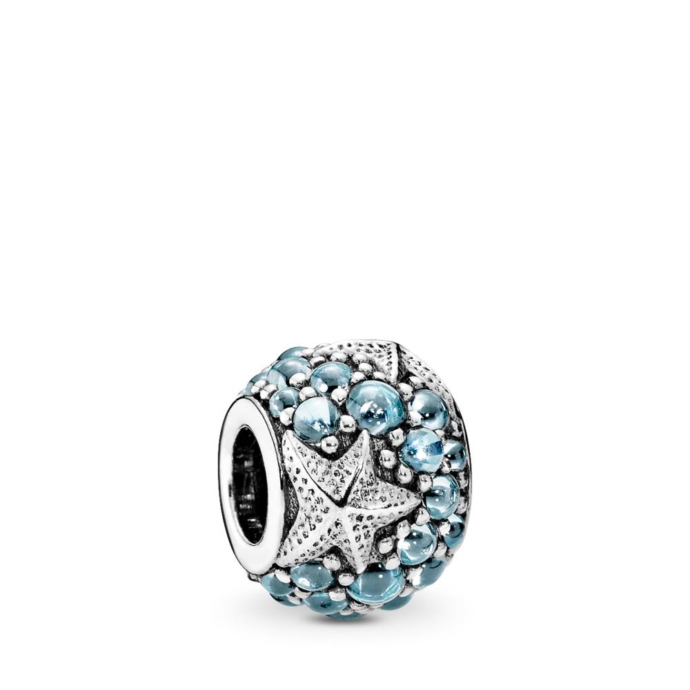 Oceanic Starfish, Frosty Mint CZ, Sterling silver, Blue, Cubic Zirconia - PANDORA - #791905CZF